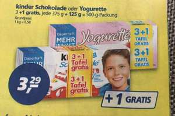 [Real] 4 Tafeln Kinder Schokolade
