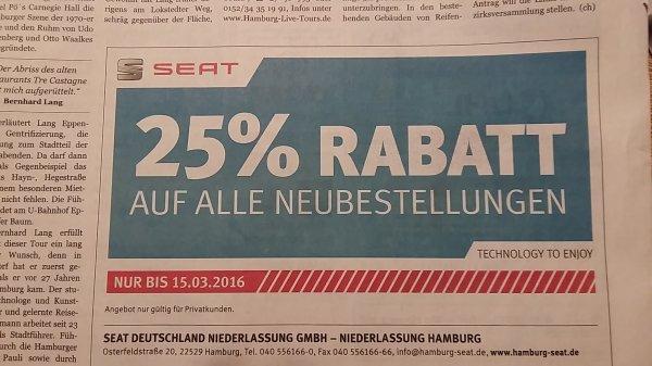 Seat 25% Rabatt - lokal Hamburg