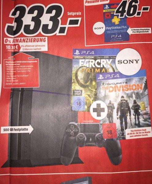 [Lokal MediaMarkt Köln] PlayStation 4, 500GB, + The Division + Far Cry: Primal für 333€, PVG: ~414€