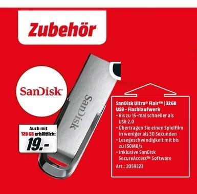 (Lokal) Sandisk Ultra Flair USB Stick 3.0 128GB für 19€ @ Mediamarkt Köln Kalk