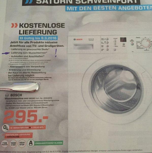 [lokal Saturn Schweinfurt] Bosch WAE 28330 A+++ 7kg inkl. Lieferung und Aufstellen zum Wunschtermin