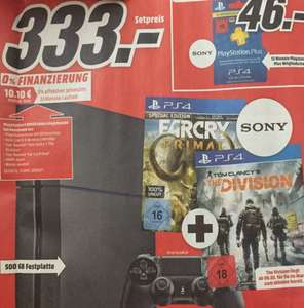 [Media Markt Köln-Kalk] PS4 500GB schwarz + Far Cry Primal + The Division 333€