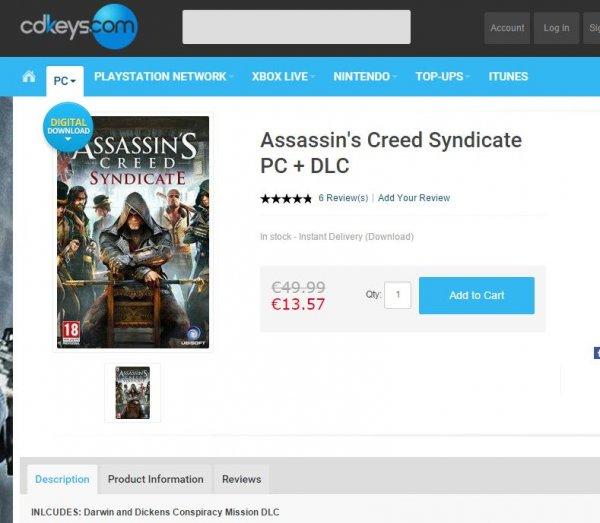 [PC DEAL]**12,89€** Assasin's Creed Syndicate + DLC   (Bestpreis!)