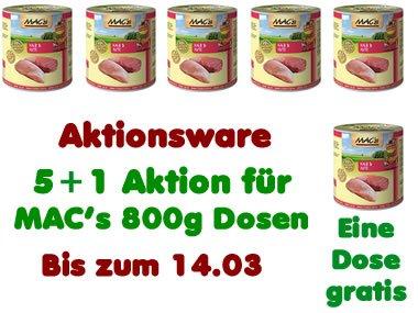 MAC's Katzenfutter 800g Dose ab 1,90€ (5+1 Aktion und Gutscheine)