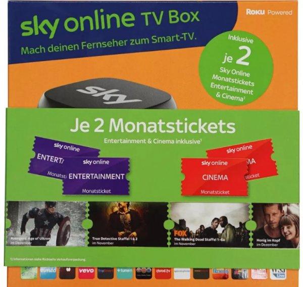 Sky online TV Box + je 2 Cinema und Entertainment Tickets für 11,96€   Saturn eBay