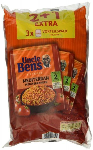 Amazon Prime : Uncle Ben's Express 4 plus 2 Vorteilspack ( Sorten Mediterran &Mexikanisch) , 2er Pack (2 x 750 g) - Nur 7,50 €