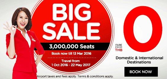 Air Asia Sale - Flugtickets innerhalb Asiens ab 2,20€ - ab Kuala Lumpur - Oktober 2016 bis Mai 2017