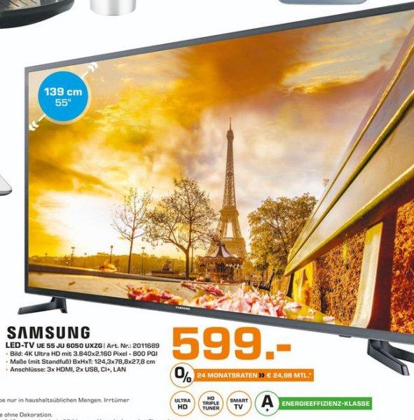 [Lokal Saturn Bielefeld] Samsung UE55JU6050 Fernseher 138 cm (55 Zoll) 4K Ultra HD LED-TV, 800 PQI, Triple Tuner, Smart TV, WLAN für 599,-€