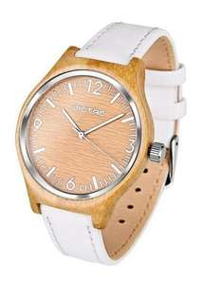 DICTAC Damen Armbanduhr aus Bambus mit weißem Lederband - 15,99 Euro nach Gutschein