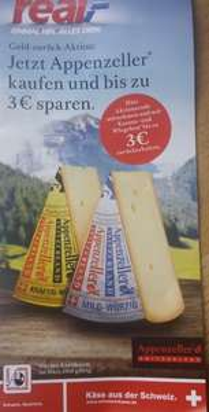 [GZG] [Real] Appenzeller Käse an Bedientheke bis 3 € - mit Portoerstattung