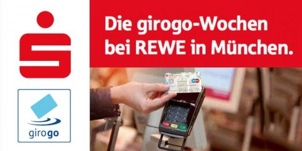 [MÜNCHEN] Für max. 5x 5€ (25€) kostenlos bei Rewe einkaufen durch Zahlung mit Girogo (Coupies)