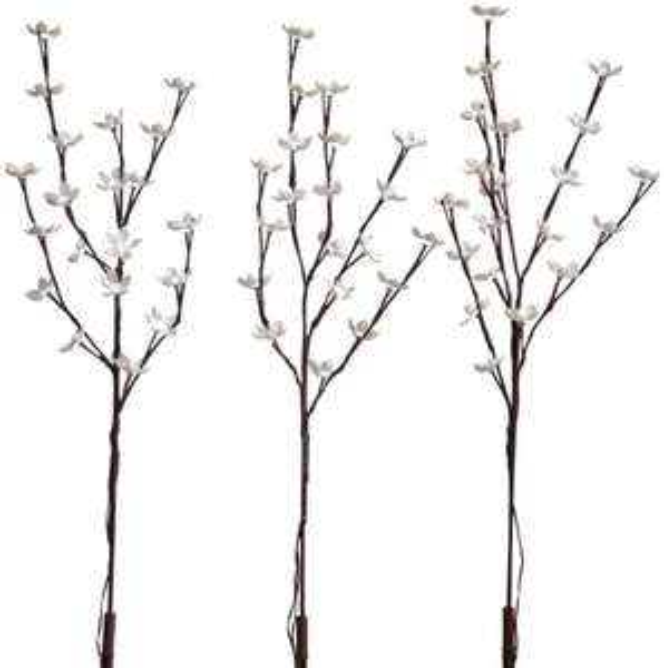 [Amazon.de] Kaemingk LED Blütenzweige 3-er Set, aussen, Aussentrafo, 180 kaltweiße LED, 3 x 76 cm hoch 495053