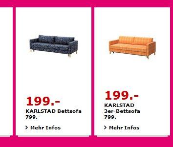 KARLSTAD Bettsofa und KARLSTAD 3er-Bettsofa für 199€ anstatt 799€
