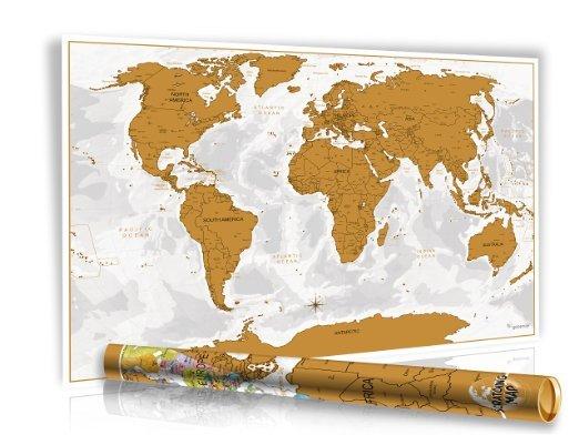 (Amazon.co.uk)Design Rubbel Weltkarte -Gold- mit 3D Relief-Optik (Berg und Ozean) für 0,01€