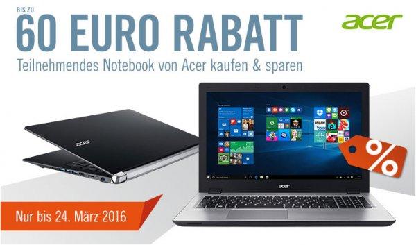 [Cyberport] Acer Laptops mit bis zu 60 EUR Rabatt