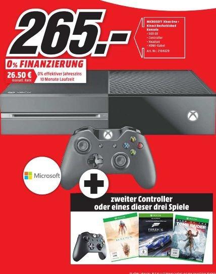Refurbished Deal [Lokal Mediamarkt Itzehoe ab 10. März] Microsoft Xbox One 500GB + Kinect +Wahlweise 2.ten Controller oder 1 von 3 Spielen für 265,-€