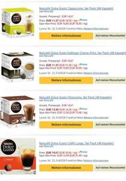 Dolce Gusto diverse Kapseln bei Amazon für 3.79 € pro Packung