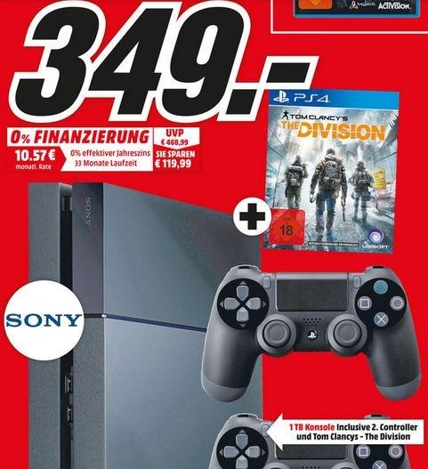 Playstation 4 1TB mit 2 Controllern + Division [lokal Mediamarkt Homburg]