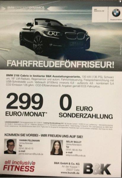 BMW 218i Cabrio PRIVATLEASING