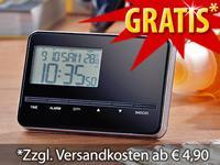 Ultraflacher Reise-Funkwecker mit Weltzeit & Thermometer @Pearl