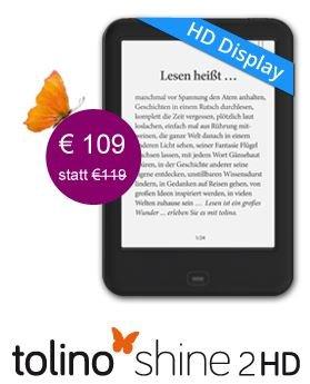 eReader Tolino Shine 2 HD nur 109€ statt 119€ bei ebook.de