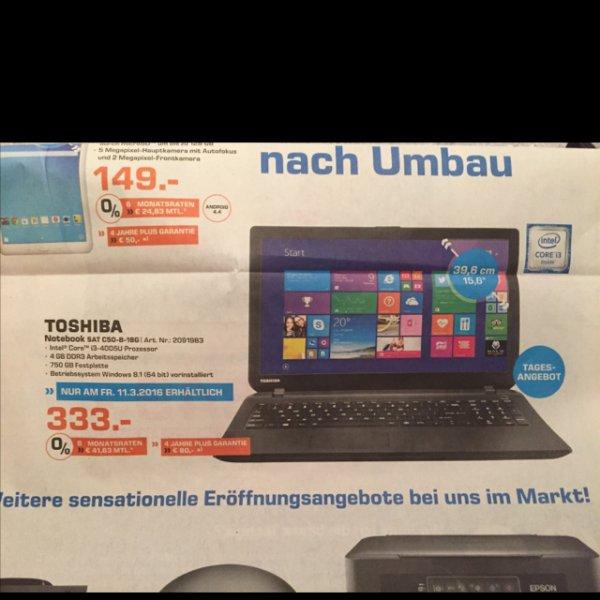 [Lokal Saturn Düsseldorf] Toshiba Notebook SAT C50-B-18G, i3 4005U, 4GB DDR3, 750GB Festplatte, Windows 8.1