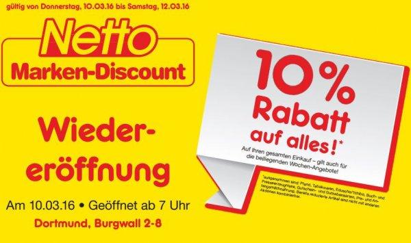 Lokal Dortmund UPDATE:Auf SB-Backwaren zusätzlich 20% Reinoldikirche Netto 10% Eröffnungsrabatt und Angebote z.B Kasten Falkenfelser für 5Euro