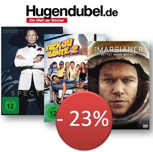 bis zu 30% Sparen - 3 DVD´s für 35€ - alles Top Titel - bei hugendubel.de - man spart bis zu 30%, bspw. James Bond  - Spectre / Marsianer / Fack yu Göhte / u.v.m.