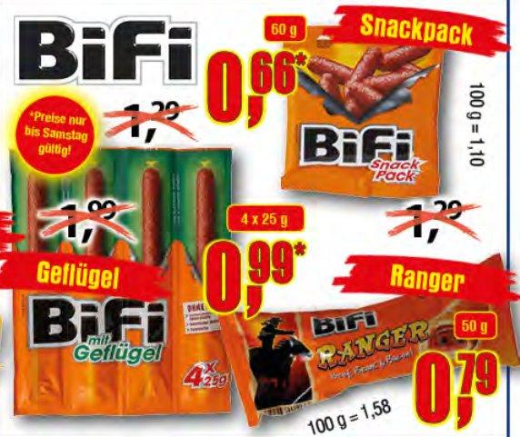 [CENTERSHOP NRW/RP] KW11: Bifi Snackpack 60g 0,66€ // Bifi Geflügelsalami 4x25g 0,99€ // Bifi Ranger 50g 0,79€
