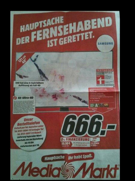 Samsung UE48JU6450 UXZG (LED-Fernseher, 4K, 48 Zoll, schwarz) 666,- lokal Karlsruhe MM