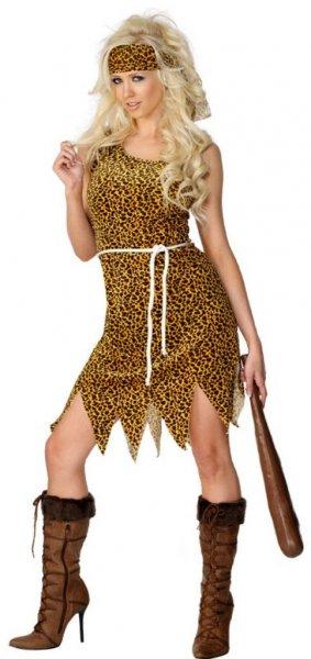 Höhlenfrau Kostüm Velours-Stoff mit Kleid Haarband und Gürtel, Medium für 9,51€ bei Amazon