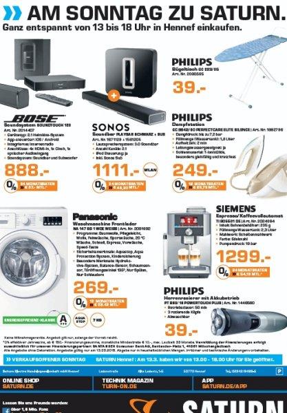[lokal] Saturn Hennef - Verkaufsoffener Sonntag 13.03.2016! Bose Soundtouch 120 für 888€, Sonos Playbar und Sub zusammen für 1111€, Philips GC9642 für 249€, Philips PT860 für 39€ und Panasonic NA 147 für 269€!