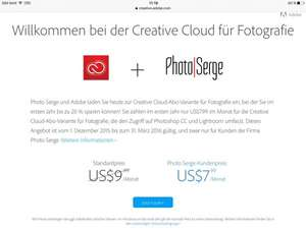 Adobe creative cloud für Fotografie nur 7,99$