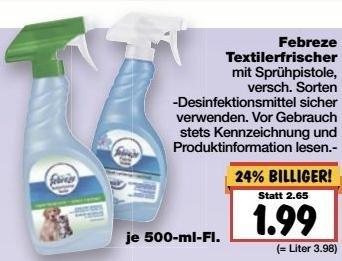 [Kaufland BW+, KW11] Febreze Textilerfrischer 1 kaufen + 1 GRATIS (Angebot+Coupon)