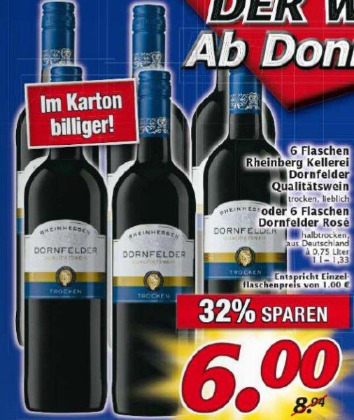 [Marktkauf Nordbayern, evtl. auch andere] Update: 48 Flaschen 2014er Dornfelder trocken oder 10 Kisten Oettinger mit 3 Spülbürsten für 38,82 €