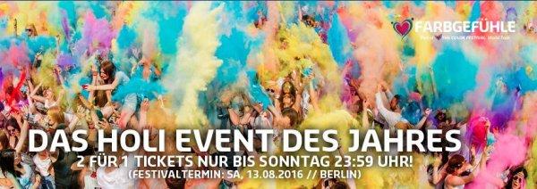Nur bis Sonntag Nacht - 2 für 1 Farbgefühle Holi Festival Tickets für diverse Städte
