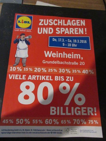 Lidl - Weinheim - bis zu 80 % Angebot Do - Sa .