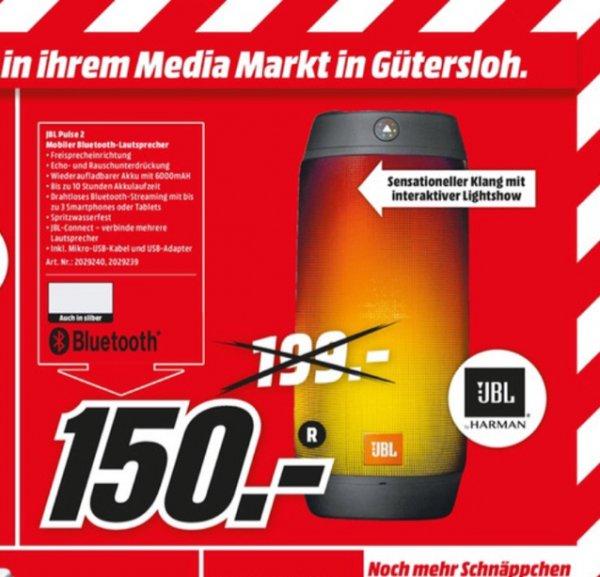 JBL Pulse 2 (schwarz o. silber) - Tragbarer Bluetooth-Lautsprecher (2 x 8W, Bluetooth 4.1, Spritzwasserfest, Lightshow, Akku) [Lokal, Media Markt Gütersloh]