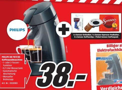 [Lokal Mediamarkt Erding] Philips Senseo Original HD7817/65 Schwarz inc. Willkommenpaket für 38,-€