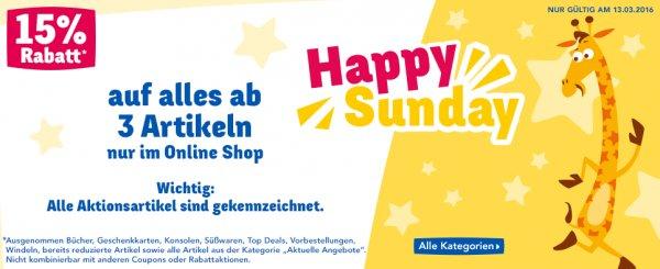 [ToysRus] online - 13.03. Happy Sunday = 15% Rabatt beim Kauf von 3 LEGO  Artikeln