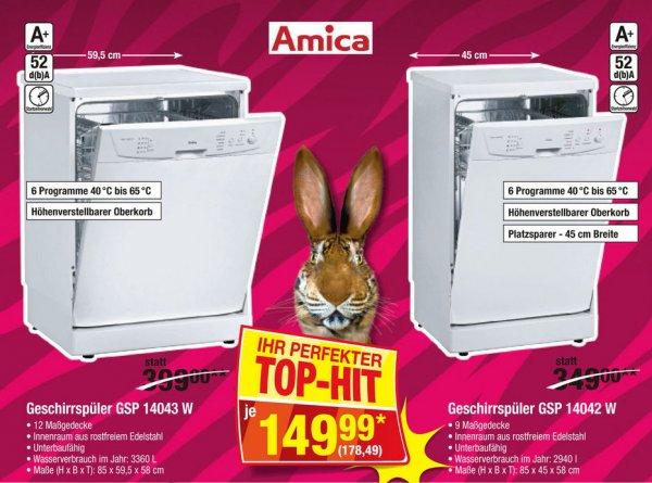 [Metro] 45cm & 60 cm Geschirrspüler für 178,49 EUR (Amica GSP 14042 & 14043)