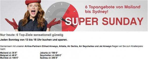 AirBerlin Sale (nur heute 13-18 Uhr) - One-Way Flüge nach Mumbai für 139€, Jakarta für 189€, Seychellen für 239€, Sydney für 339€ (auch Hin- und Rückflug sehr günstig - z.B. Sydney unter 680€)