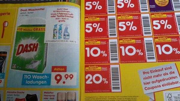 Netto Md Dash 110 WL + Gratis Febreze Luft - Textilerfrischer Mit 20% sticker ca. 8€
