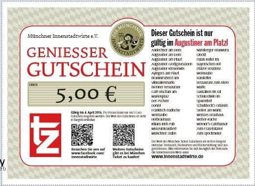[lokal München] 5 x 5€ Gastro-Gutscheine (Augustiner, Hofbräuhaus, Schneider, Sausalitos, Ayinger) ohne MBW für 0,70€