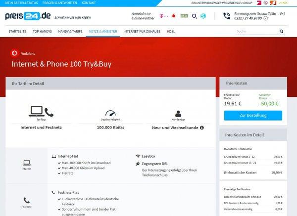 DSL 100.000 über preis24.de von Vodafone für 19,99€ monatlich für alle 24 Monate