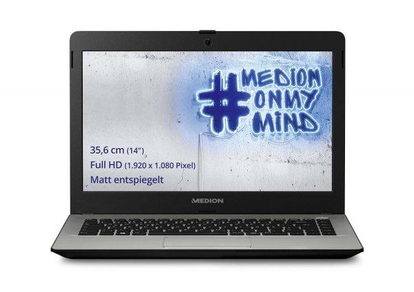 Medion Akoya E4213 mit 14 Zoll Full-HD Display in matt, Pentium N3540, 2GB RAM, 500GB HDD und Windows 10 für 213,53€ bei Amazon