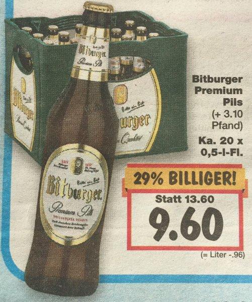 Bitburger 20 x 0,5 l für 9,60 € im Kaufland am Superweekend