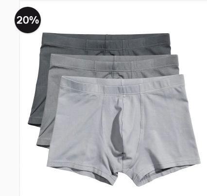 [H&M] gratis Versand + bis zu 30% Rabatt auf Wäsche, z.B. 3er Pack Boxershorts für 7,99€ statt 14,89€