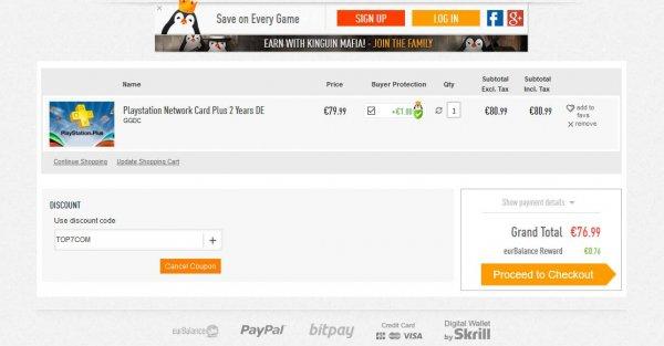 [kinguin] 2 Jahre Playstation Plus für 77,86 €