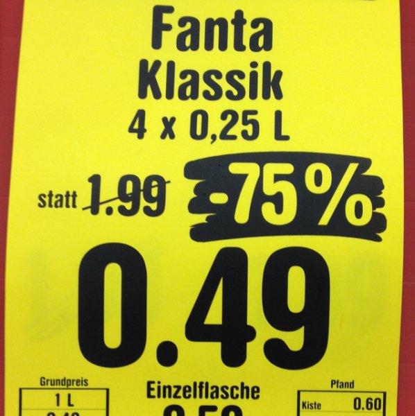 Fanta Klassik, 4x0,25L, im Netto MD Berlin-Malteser Str.